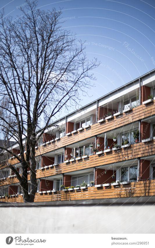 balkonien. Himmel blau Stadt Baum Sonne Erholung Haus Wand Holz Mauer Stein Linie Fassade Wohnung Freizeit & Hobby Häusliches Leben