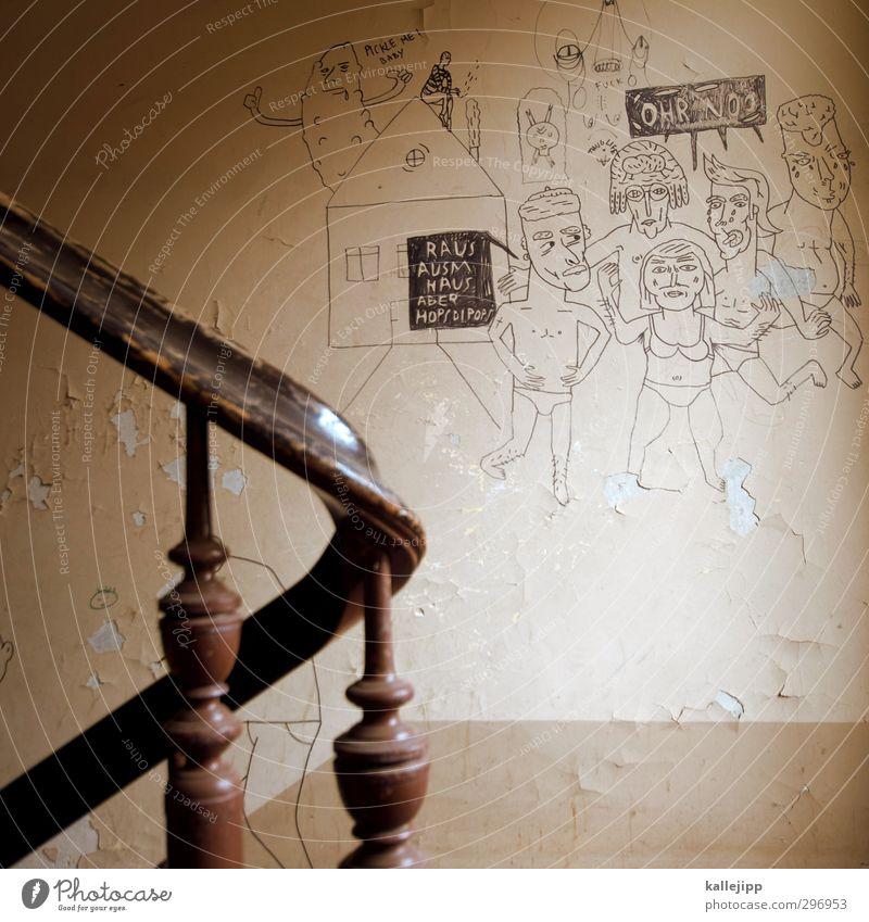 wutbürger Mensch Körper Menschengruppe Mauer Wand Treppe Zeichen Schilder & Markierungen Graffiti Feste & Feiern Demonstration Treppenhaus hausbesetzer besetzen
