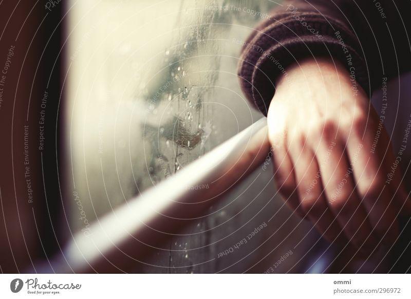 in Anlehnung Mensch Hand Fenster Autofenster Linie Haut Glas stehen Finger Wassertropfen festhalten Fensterscheibe Bahnfahren Öffentlicher Personennahverkehr