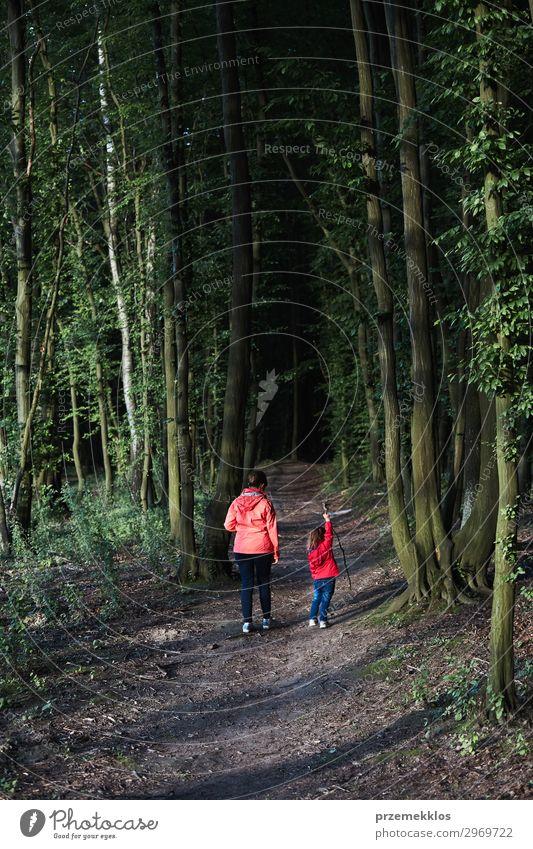 Mutter mit ihrer kleinen Tochter, die durch den Wald geht. Lifestyle Freude schön Leben Erholung Freizeit & Hobby Ferien & Urlaub & Reisen Sommer wandern Kind