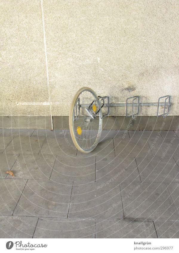 Einrad fahren Freizeit & Hobby Fahrradfahren Einradfahren Mauer Wand Fassade Fahrradständer Bodenplatten Reflektor Fahrradreifen Vorhängeschloss festhalten