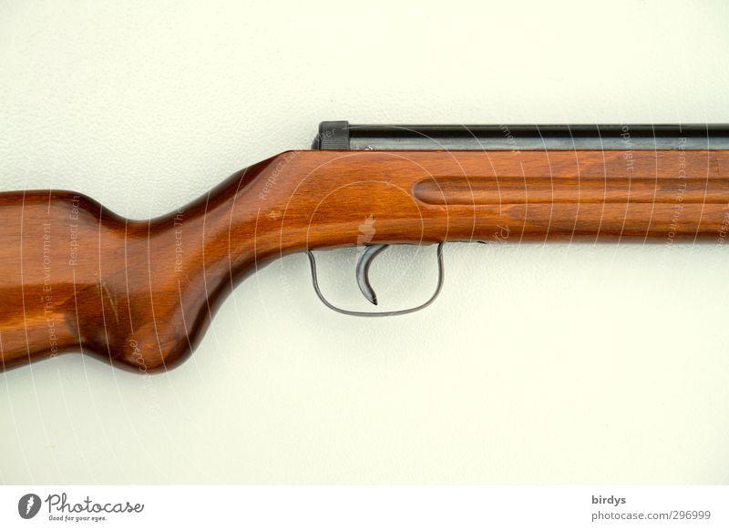 Anschnitt eines Gewehrs, Teil von Kolben, Abzug und Lauf. Neutraler Hintergrund Schießsport Luftgewehr Schußwaffen ästhetisch bedrohlich rebellisch braun weiß