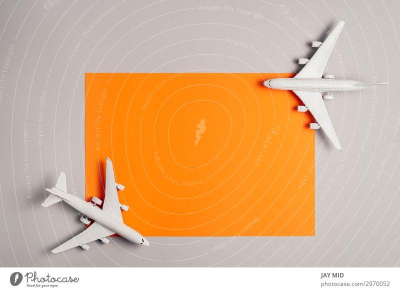 zwei Düsenflugzeuge Reisekonzept, Minimal Art Design Leben Ferien & Urlaub & Reisen Tourismus Ausflug Sommer Business Kunst Himmel Verkehr Personenverkehr