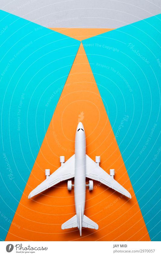 Jetflugzeug Reisekonzept, Minimal Art, farbiger Hintergrund Design Leben Ferien & Urlaub & Reisen Tourismus Ausflug Abenteuer Freiheit Sommer Sommerurlaub