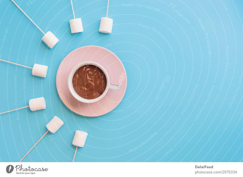 Marshmallows mit Schokolade vor wunderschönem Hintergrund Dessert Ernährung Frühstück Diät Teller Dekoration & Verzierung Tisch Blatt frisch lecker braun rosa