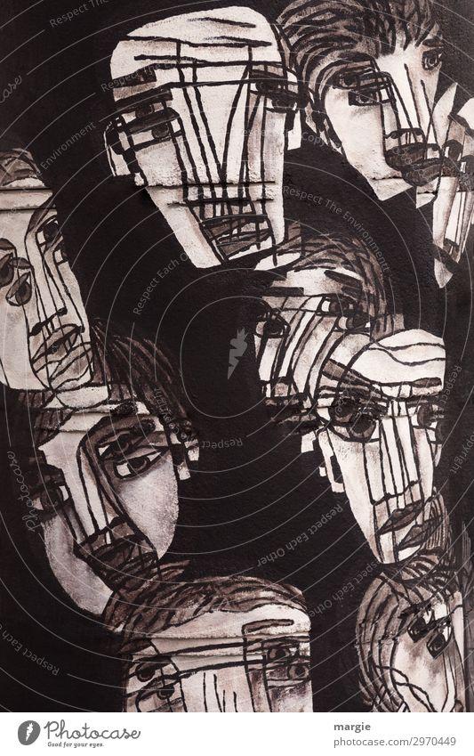 UT Kassel | Alle Pappnasen Frau Mensch Mann weiß schwarz Gesicht Auge Erwachsene Wand feminin Kunst Mauer Menschengruppe Fassade Freizeit & Hobby maskulin
