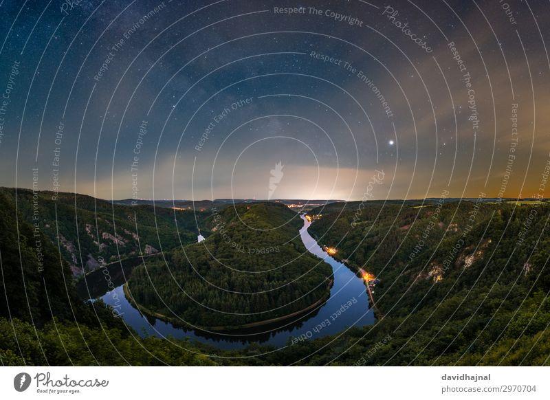 Saarschleife Ferien & Urlaub & Reisen Tourismus Ausflug Abenteuer Sightseeing Astronomie Umwelt Natur Landschaft Luft Wasser Himmel Wolken Nachthimmel Stern