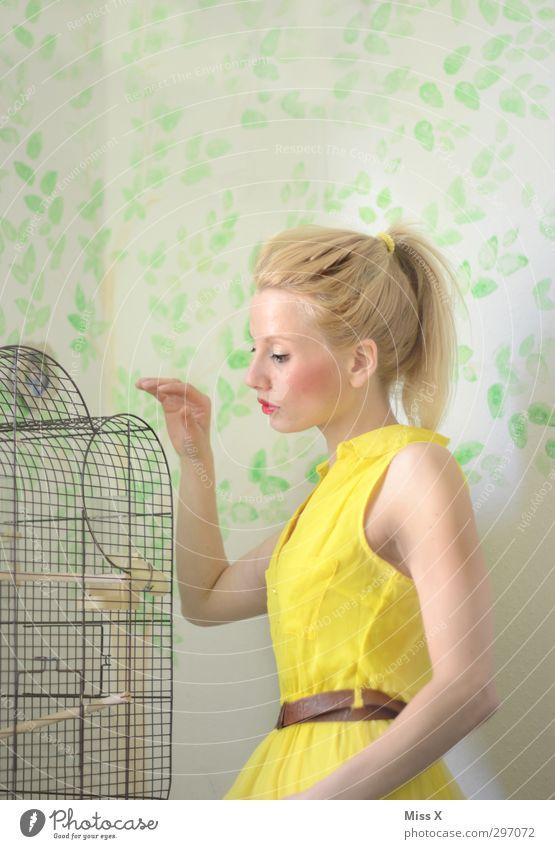Goldener Käfig Mensch Jugendliche schön Junge Frau Erwachsene feminin 18-30 Jahre träumen Stimmung Vogel blond Schutz Kleid Haustier gefangen Puppe