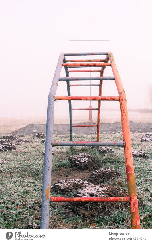 Spielplatz in Winter Natur Landschaft Wasser Himmel Wolken Sonnenlicht Nebel Pflanze Gras Wildpflanze Park Seeufer Gelassenheit Idylle Kletteranlage