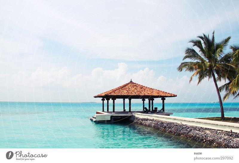 One-Way-Ticket Himmel Natur Ferien & Urlaub & Reisen schön Wasser Sommer Meer Einsamkeit Landschaft ruhig Erholung Haus Ferne Wege & Pfade Küste hell