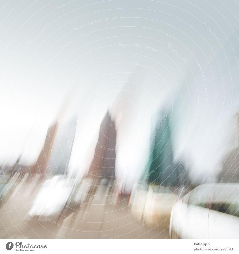rush hour Hauptstadt Stadtzentrum Hochhaus Bankgebäude Verkehr Verkehrswege Berufsverkehr Straßenverkehr Autofahren Straßenkreuzung Fahrzeug PKW Taxi Bewegung