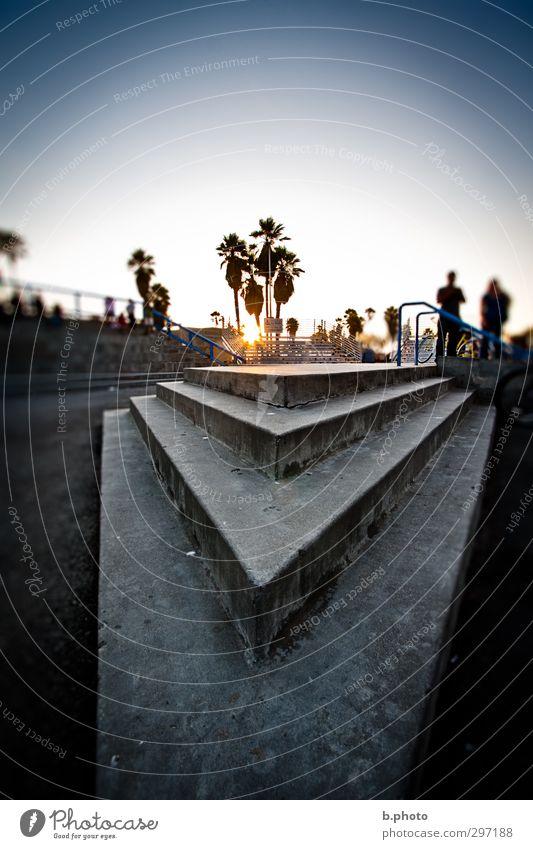 Corner 2 Mensch 18-30 Jahre Jugendliche Erwachsene Wolkenloser Himmel Sonne Sonnenaufgang Sonnenuntergang Sonnenlicht Sommer Baum Palme Park Los Angeles Treppe