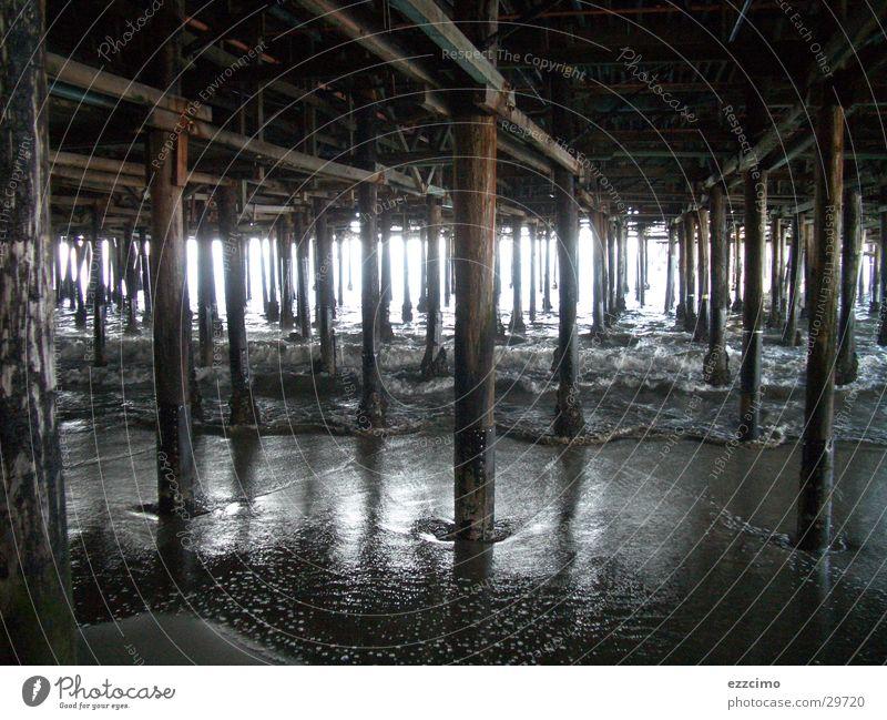 steg Wasser Strand hell Steg Anlegestelle Säule Los Angeles