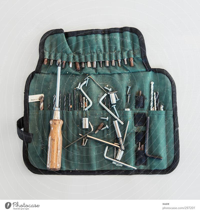 Männer-Handtasche Freizeit & Hobby heimwerken Arbeit & Erwerbstätigkeit Handwerker Arbeitsplatz Werkzeug maskulin Sammlung Metall alt dreckig grün weiß