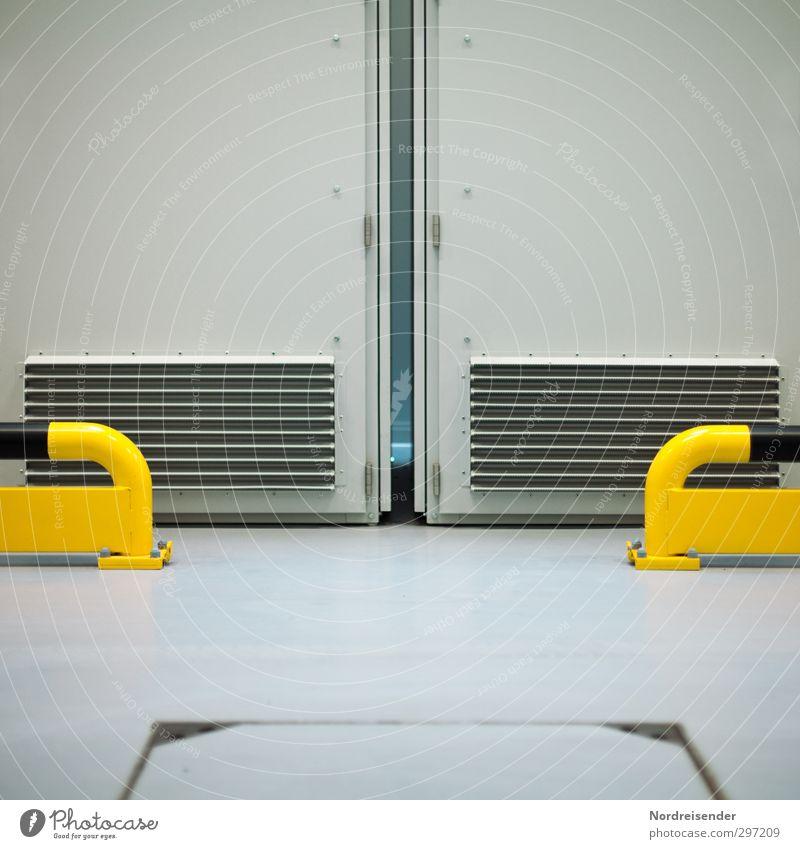 Symmetrie schwarz gelb grau Metall Arbeit & Erwerbstätigkeit Energiewirtschaft Ordnung Schilder & Markierungen ästhetisch Hinweisschild bedrohlich Technik & Technologie Sicherheit Streifen Industrie Zeichen