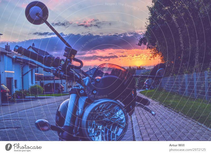 Biker Sonnenuntergang Sommer Landschaft Haus Wolken Freude Ferne Straße Lifestyle Umwelt Freiheit Ausflug Design Zufriedenheit Freizeit & Hobby Abenteuer