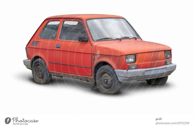 red compact car Fahrzeug PKW alt dreckig kaputt klein rot Kleinwagen schäbig kleinstwagen verwittert kompakt gebrochen Autowrack verwaschen schmuddelig isoliert