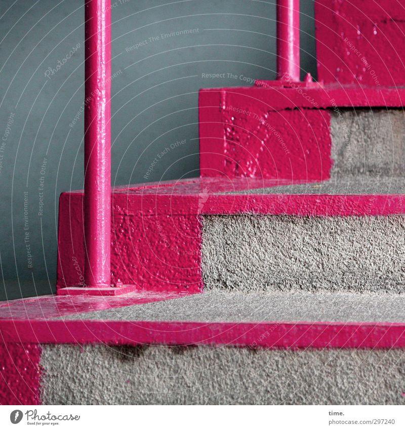 Zumutung | Geschmacksverstärker Häusliches Leben Treppenhaus Treppengeländer Mauer Wand Stein Beton Metall nackt rebellisch trashig grau rosa sparsam Stress