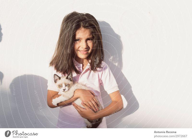 kleine Kinder und Haustier Welpe Katze im Außenbereich Bild Leben Mensch Tier brünett niedlich heimisch Menschen echte Menschen heimwärts Verantwortlichkeit