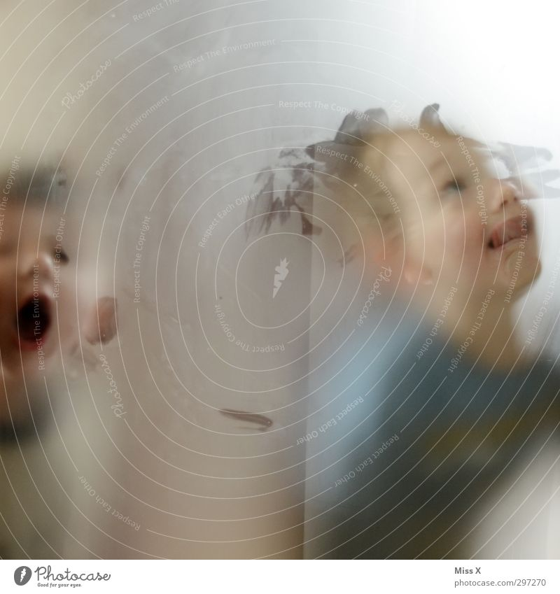bäääh Mensch Kind Freude Fenster lustig Freundschaft Stimmung Kindheit Tür Glas niedlich Neugier Kleinkind Fensterscheibe Grimasse Bruder