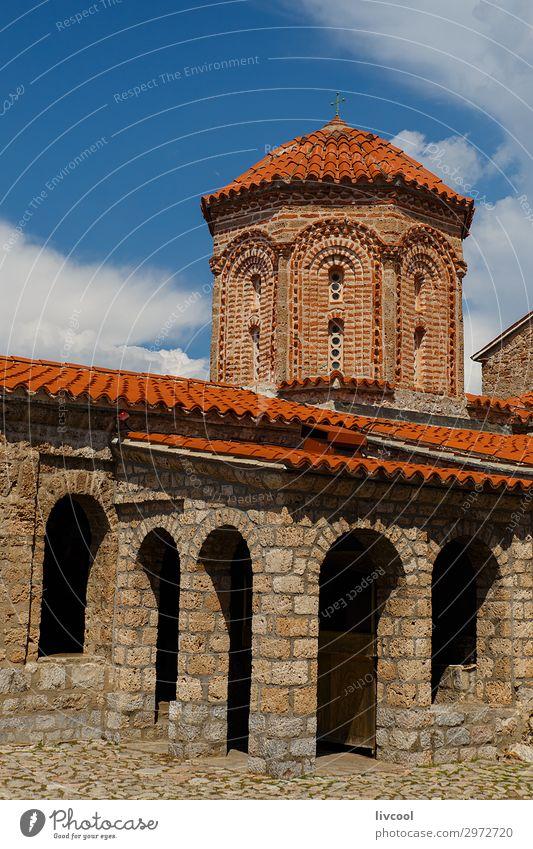 Kloster Naum, Mazedonien - Albanien Tourismus Kunst Himmel Wolken Kleinstadt Kirche Gebäude Architektur Fassade Dach Denkmal Stein historisch