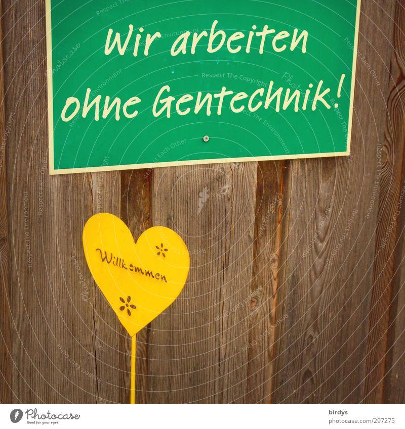 Gute Ansage grün gelb natürlich Gesundheit Lebensmittel Business Schilder & Markierungen Schriftzeichen Hinweisschild Ernährung Herz einfach Landwirtschaft