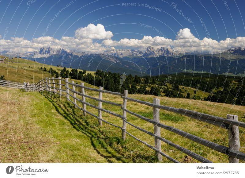 Blick von der Villanderer Alm zu den Dolomiten Informationstechnologie Natur Landschaft Wolken Sommer Alpen Berge u. Gebirge Gipfel blau braun grau grün schwarz