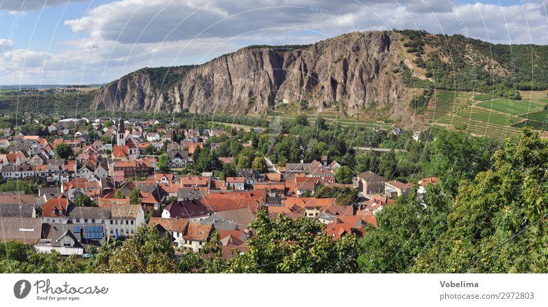 Ebernburg mit Rotenfels Landschaft Himmel Wolken Sommer Hügel Felsen blau braun mehrfarbig grau grün orange rot schwarz weiß bad kreuznach bad münster