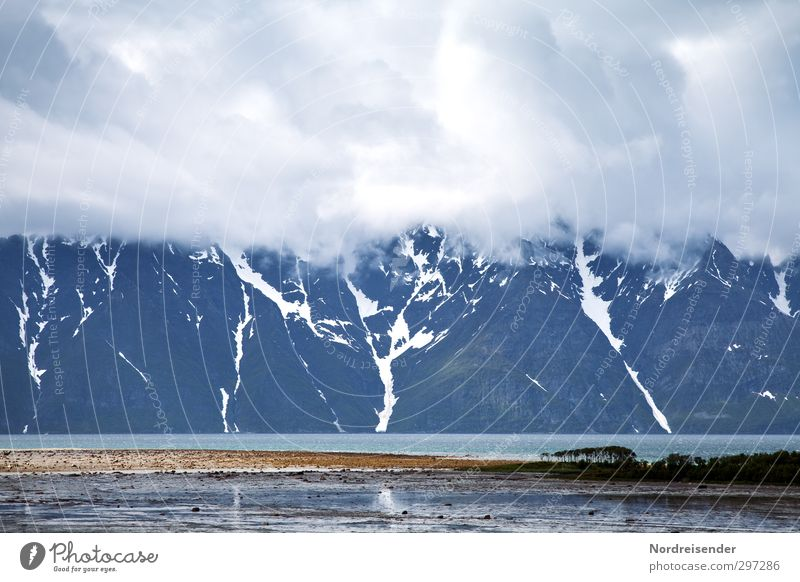 Lofoten Ferien & Urlaub & Reisen Meer Einsamkeit Landschaft Wolken ruhig Ferne dunkel Berge u. Gebirge kalt Freiheit Küste Regen Klima Tourismus ästhetisch