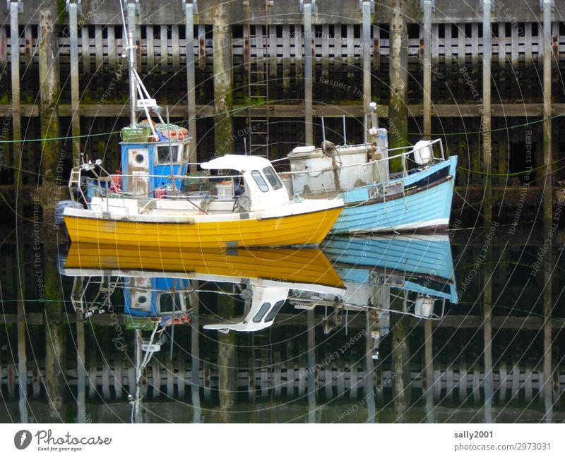 Ruhe im Hafen... Schifffahrt Fischerboot Motorboot fest Zusammensein maritim blau gelb Gelassenheit geduldig ruhig Pause Fischereiwirtschaft 2 klein ankern
