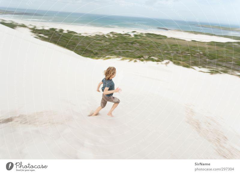 232 [running free] Mensch Kind Himmel Natur Ferien & Urlaub & Reisen Wasser Sommer Meer Landschaft Strand Ferne Leben Bewegung Junge Freiheit Sand