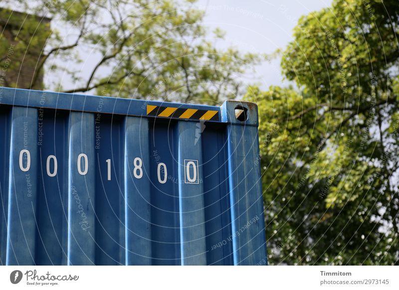 0001800 Himmel Park Großbritannien Metall Ziffern & Zahlen blau grün weiß Gefühle Container technisch unpersönlich Gegenteil Yorkshire Farbfoto Außenaufnahme