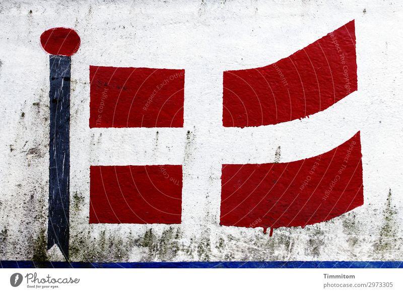 Handarbeit Ferien & Urlaub & Reisen blau rot schwarz Gefühle grau Linie authentisch einfach Zeichen Fahne Schifffahrt Dänemark Fischerboot Binnenschifffahrt