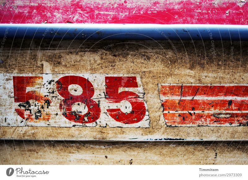 585 Ferien & Urlaub & Reisen Dänemark Schifffahrt Wasserfahrzeug Holz Ziffern & Zahlen Linie alt blau braun rot weiß Gefühle dreckig Beschriftung violett