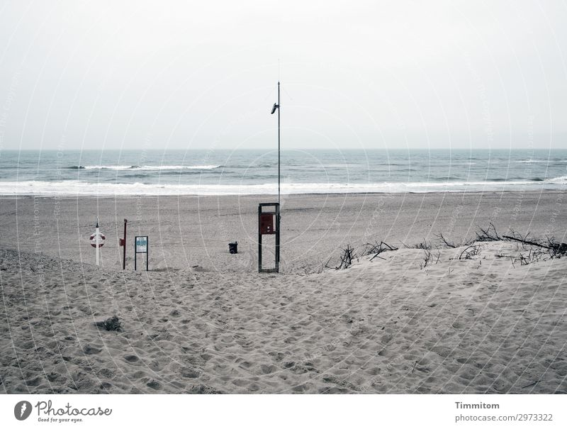 Der Tag beginnt Ferien & Urlaub & Reisen Strand Umwelt Natur Landschaft Urelemente Sand Wasser Nordsee Zeichen Schilder & Markierungen Hinweisschild Warnschild