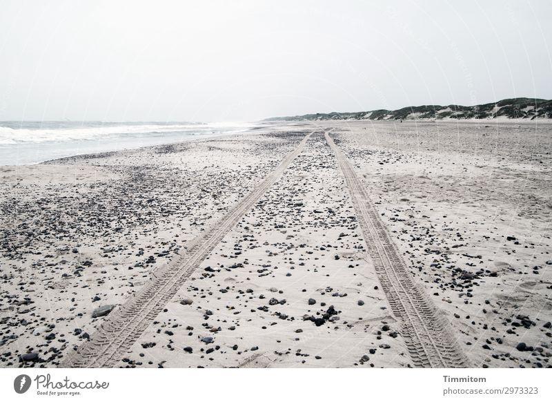 Weiter, immer weiter! Himmel Ferien & Urlaub & Reisen Natur Wasser Landschaft Einsamkeit Strand Umwelt Gefühle grau Sand ästhetisch Düne Nordsee Dänemark