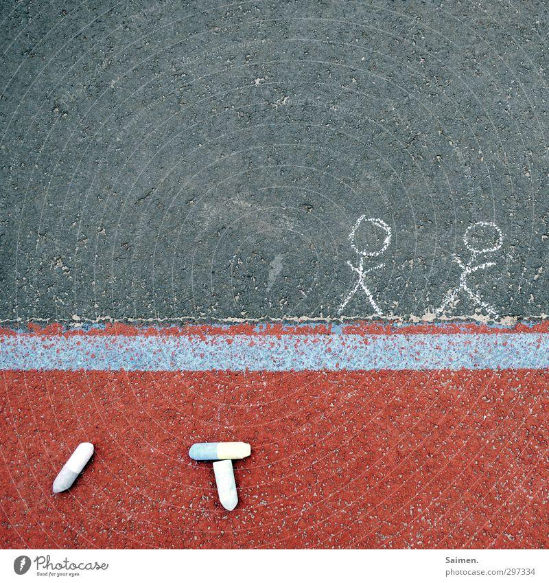kinderstreetart Wege & Pfade Freizeit & Hobby gemalt Strichmännchen Asphalt Bodenbelag Kreide Erinnerung gezeichnet malen Linie Farbfoto Außenaufnahme