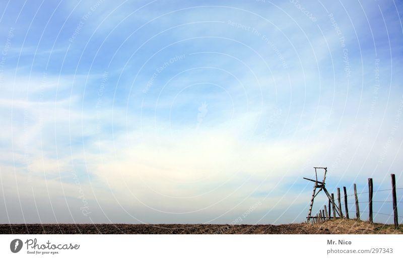 jägermeister Freizeit & Hobby Jagd Umwelt Natur Landschaft Erde Wolken Schönes Wetter Feld Einsamkeit Hochsitz Zaun Zaunpfahl Holz Jagdrevier beobachten warten