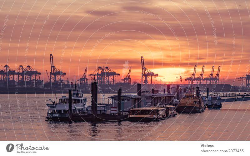sundown Övelgönne Stadt Hafenstadt Sehenswürdigkeit Wahrzeichen Schifffahrt Binnenschifffahrt Dampfschiff Wasserfahrzeug Anker entdecken