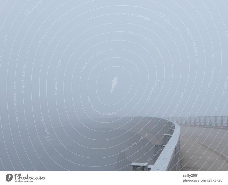 nebulös   Brücke ins Ungewisse... Einsamkeit ruhig kalt Wege & Pfade grau Nebel bedrohlich Verkehrswege Irritation Kurve stagnierend schlechtes Wetter