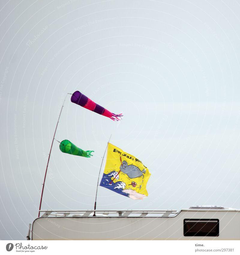 Rømø   Stürmchen und Drängchen Verkehr Wohnmobil Dachgepäckträger Dachfenster Fahne Bewegung anstrengen Erholung Freiheit Geschwindigkeit Leidenschaft Ordnung