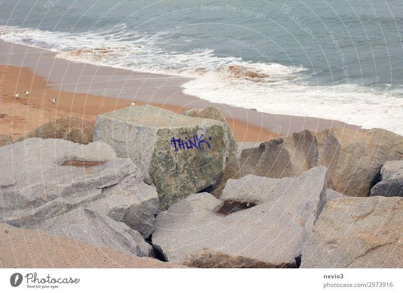 Think leerer Strand einsam verlassen think denken Denkvermögen rational Rationalität Aufruf nachdenklich nachdenken Steine Barcelona Meer handeln Felsen Küste