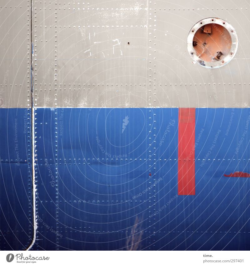 bodenständig alt Wand Mauer Metall Fassade Luftverkehr Flugzeug Wandel & Veränderung Vergänglichkeit Streifen Grafik u. Illustration historisch Vergangenheit
