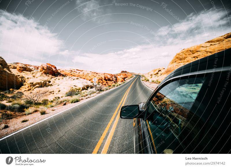 Road Trip Lifestyle Ferien & Urlaub & Reisen Abenteuer Ferne Freiheit Sommerurlaub Felsen Fernweh Road trip Straße Wüste USA Amerika Natur Umwelt Stein Indianer
