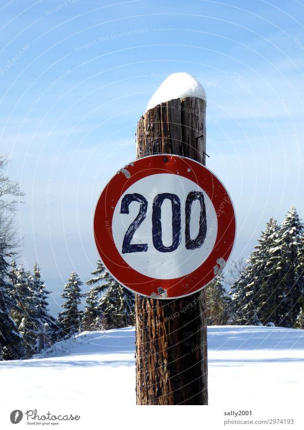 runter vom Gas... Winter Schnee Baum Verkehr Straßenverkehr Verkehrszeichen Verkehrsschild Zeichen Ziffern & Zahlen Schilder & Markierungen Hinweisschild