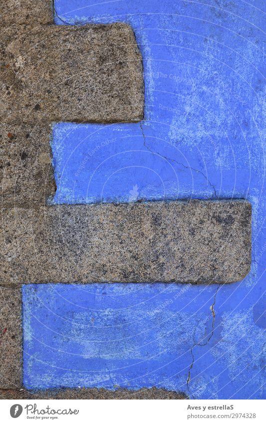 Blaue Wand mit Steinmauern Backstein Baustein Konsistenz alt Muster Zement Architektur Gebäude Konstruktion Block Beton Oberfläche Strukturen & Formen abstrakt