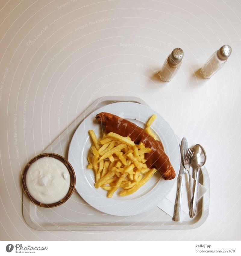 heiss und fettig Lebensmittel Gesundheitswesen Tisch Ernährung lecker Geschirr Teller Fleisch Messer Mittagessen Besteck Wurstwaren Salz Gabel Löffel ungesund
