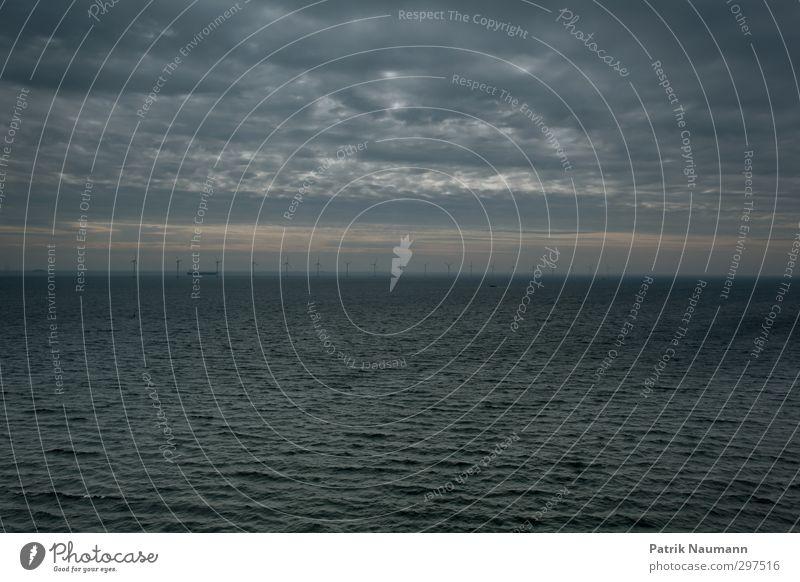 erneuerbare Energie Himmel Wasser Meer Wolken Umwelt dunkel Bewegung Horizont Wind Klima Erfolg Zukunft bedrohlich Technik & Technologie Nordsee Wissenschaften
