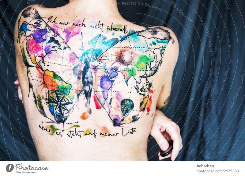 meine welt ist bunt! Frau Mensch Ferien & Urlaub & Reisen schön Hand Erwachsene Kunst außergewöhnlich Freiheit Körper ästhetisch Rücken Haut fantastisch Fernweh