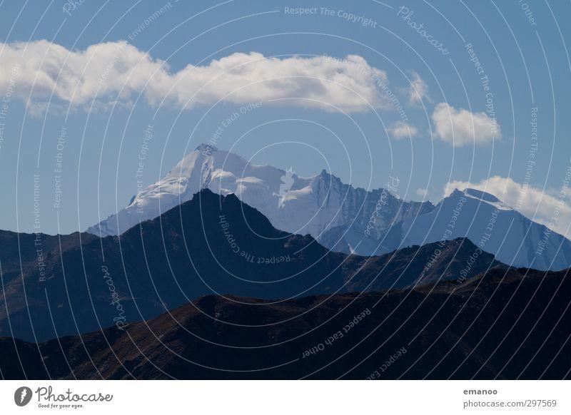 Bergschatten Ferien & Urlaub & Reisen Tourismus Expedition Berge u. Gebirge Umwelt Natur Landschaft Himmel Wolken Sommer Eis Frost Schnee Hügel Felsen Alpen